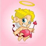 Cupido divertido con el arco y la flecha Ejemplo de un día del ` s de la tarjeta del día de San Valentín Vector fotografía de archivo libre de regalías