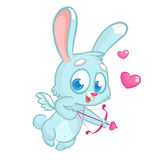 Cupido divertido con el arco y la flecha Ejemplo de un día del ` s de la tarjeta del día de San Valentín Vector en fondo color de fotos de archivo
