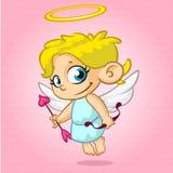 Cupido divertido con el arco y la flecha Ejemplo del vector de un día de tarjeta del día de San Valentín imagen de archivo libre de regalías