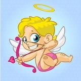 Cupido divertido con el arco y la flecha que tienen como objetivo alguien Ejemplo de un día de tarjeta del día de San Valentín Ve foto de archivo