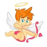 Cupido divertido de la historieta con el arco y la flecha Ejemplo de un día del ` s de la tarjeta del día de San Valentín Vector  imagen de archivo libre de regalías