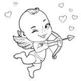 Cupido do bebê que dispara em uma curva Imagem de Stock