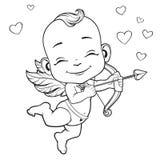 Cupido do bebê que dispara em uma curva Imagem de Stock Royalty Free