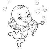 Cupido do bebê que dispara em uma curva Fotos de Stock