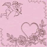 Cupido e coração com rosas Imagens de Stock Royalty Free