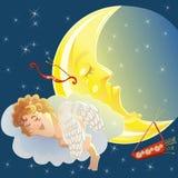 Cupido e lua Imagens de Stock