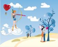 Cupido e una coppia dell'amante Fotografia Stock Libera da Diritti