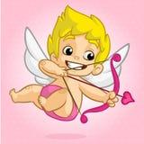 Cupido engraçado com curva e seta Ilustração de um dia de Valentim Vecto Imagens de Stock Royalty Free