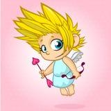 Cupido engraçado com curva e seta Ilustração de um dia de Valentim Vetor no fundo cor-de-rosa Fotografia de Stock