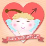 Cupido felice di giorno di biglietti di S. Valentino nella forma del cuore illustrazione di stock