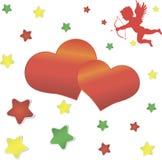 Cupido, groot rood hart en kleurrijke sterren op Stock Illustratie