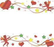 Cupido, groot rood hart en kleurrijke sterren op Vector Illustratie
