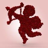 Cupido hecho de rosas Imágenes de archivo libres de regalías