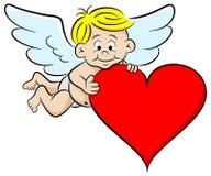 Cupido met hart Stock Foto's
