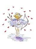 Cupido op een witte achtergrond met rode harten Stock Foto