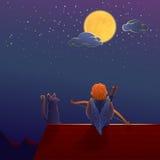 Cupido op het dak onder de maan Royalty-vrije Stock Afbeeldingen