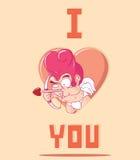 Cupido pequeno engraçado. Ilustração de Valentine Day Imagens de Stock Royalty Free