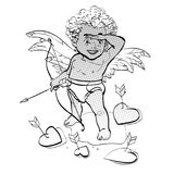 Cupido pequeno engraçado que visa alguém Dia do `s do Valentim ilustração do vetor