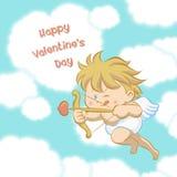 Cupido que aponta com curva e seta Imagens de Stock