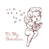 Cupido que juega música en hurp a los corazones que vuelan Lette del saludo de la diversión Fotos de archivo libres de regalías