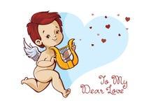 Cupido que juega música en mensaje manuscrito del día de tarjetas del día de San Valentín de la cita de la diversión de la arpa Fotografía de archivo libre de regalías