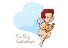 Cupido que juega música en mensaje manuscrito del día de tarjetas del día de San Valentín de la cita de la diversión de la arpa Imagen de archivo libre de regalías