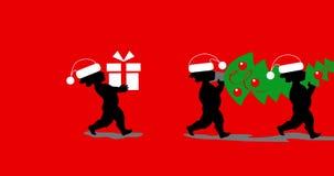 Cupido que toma a árvore e os presentes de Natal
