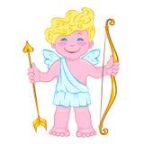 Cupido sonriente con el arco y la flecha ilustración del vector