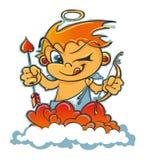 Cupido sonriente en las nubes con una flecha, un arco y corazones ilustración del vector