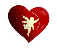 Cupido su un cuore Fotografie Stock Libere da Diritti