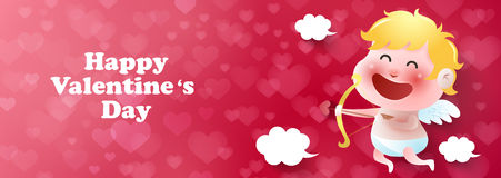 Cupido sveglio, biglietti di S. Valentino, vettore Fotografia Stock