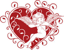 Cupido y corazón Imagen de archivo libre de regalías