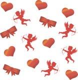 Cupido y un corazón rojo grande en el fondo Fotografía de archivo