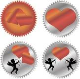 Cupido y un corazón rojo grande en el fondo Foto de archivo libre de regalías