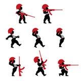 Cupidomilitairen met geweer in vlak ontwerp Stock Afbeeldingen