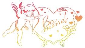 Cupidon avec la chasse d'arc pour des coeurs Colorez le cadre de gradient avec le cupidon, roses, coeurs et le texte écrit artist Photos stock