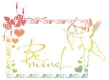 Cupidon avec la chasse d'arc pour des coeurs Colorez le cadre de gradient avec le cupidon, roses, coeurs et le texte écrit artist Photo libre de droits