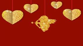 Cupidon brillant d'or avec des coeurs banque de vidéos
