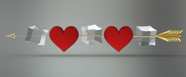 Cupidon d'or de flèche tiré par le coeur Photographie stock libre de droits