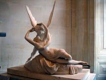 Cupidon de marbre et psyché de sculpture par Antonio Canova Photos libres de droits