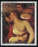 Cupidon de peinture bandé les yeux par Vénus par Titian Images libres de droits