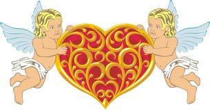 Cupidon deux avec le foyer Image libre de droits