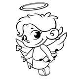 Cupidon drôle avec le tir à l'arc Illustration d'une Saint-Valentin Vecteur Schéma monochrome vecteur Photographie stock