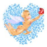 Cupidon et coeurs Images stock