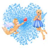 Cupidon et fille Image stock