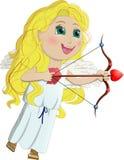 Cupidon, fille d'ange drôle avec de longs cheveux jaunes Photographie stock libre de droits