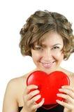 Cupidon-fille mignonne avec le coeur Photos libres de droits