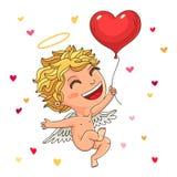 Cupidon mignon avec un ballon rouge illustration de vecteur