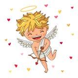 Cupidon mignon Excellente carte cadeaux pour la Saint-Valentin illustration libre de droits