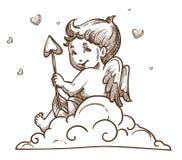 Cupidon ou ange de bébé se reposant sur le nuage avec les ailes et la flèche illustration libre de droits